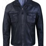 Mens Black Real Leather Quilted Jacket