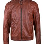 Mens Brown Real Leather Padded Biker Jacket