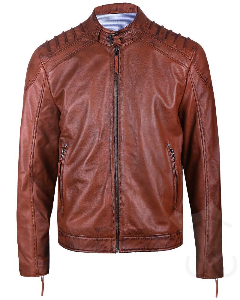 Mens Brown Real Leather Padded Biker Jacket