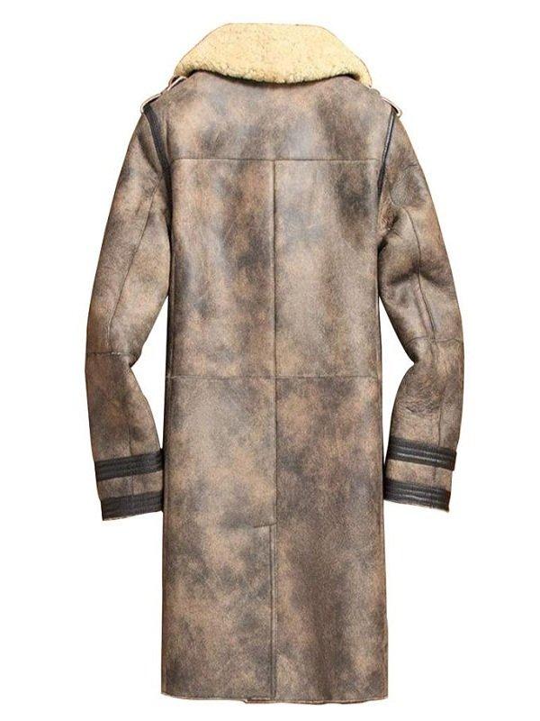 Mens Distress Shearling Leather Jacket