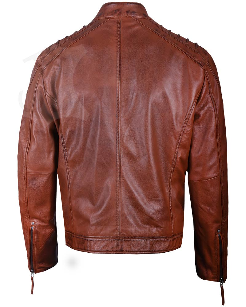 Mens Real Leather Brown Padded Jacket