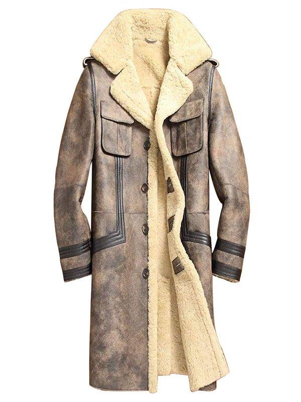 Mens Sheepskin Shearling Brown Leather Jacket