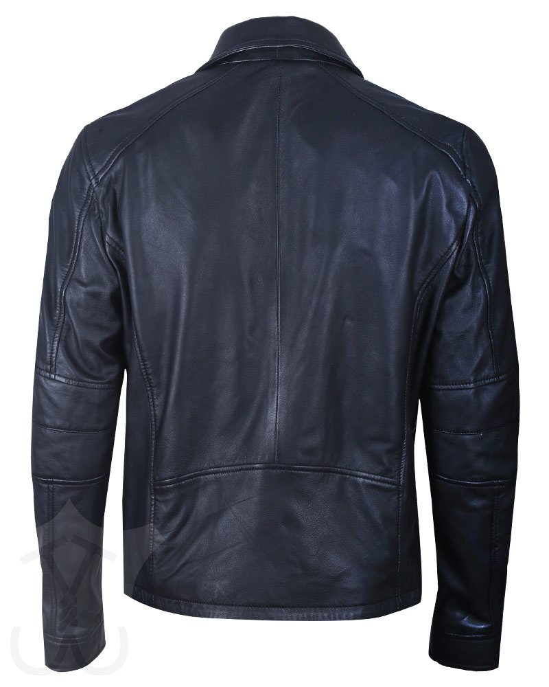 Mens Style Real Quilted Black Leather Jacket