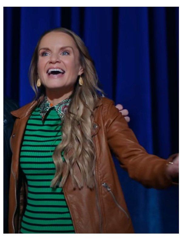 Miss Jenn High School Musical Brown Biker Leather Jacket