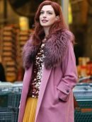 Modern Love Anne Hathaway Pink Shearling Coat