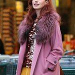 Modern Love Anne Hathaway Pink Shearling Coat