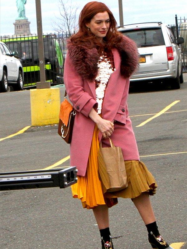 Modern Love Anne Hathaway Pink Wool Coat