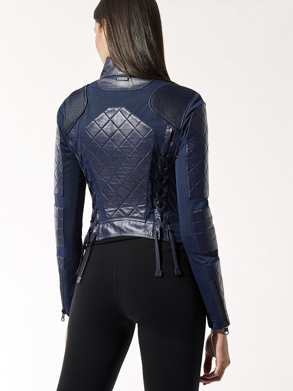 Navy Blue Quilted Biker Leather Jacket For Women