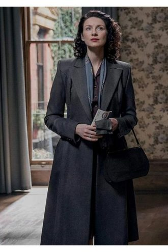 Outlander S03 Claire Randall Grey Wool Coat