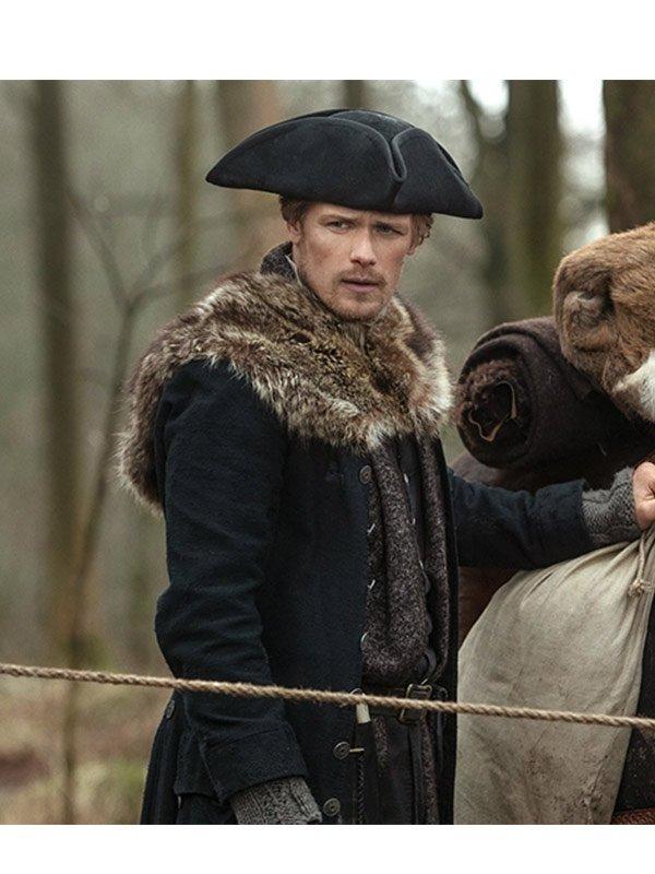 Outlander S04 Jamie Fraser Black Fur Coat