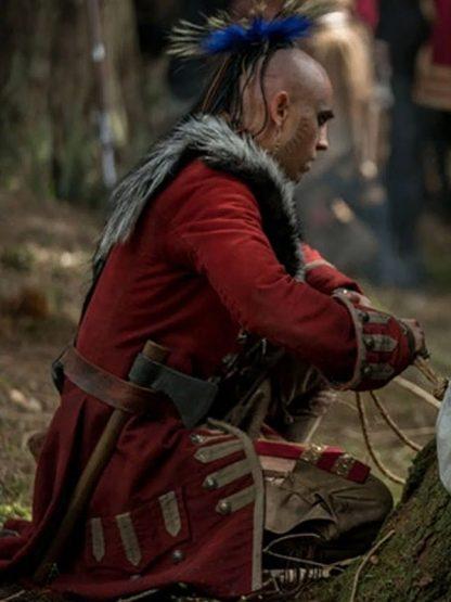Outlander Season 04 Braeden Clarke Red Cotton Coat