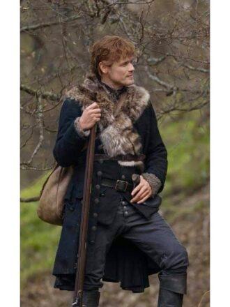 Outlander Season 04 Sam Heughan Black Fur Trench Coat