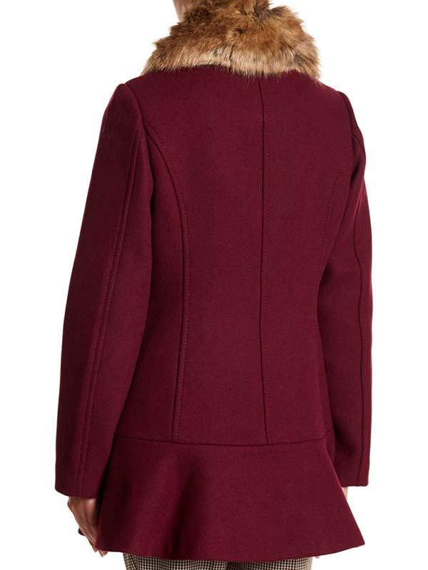 Riverdale S04 Camila Mendes Fur Collar Maroon Coat