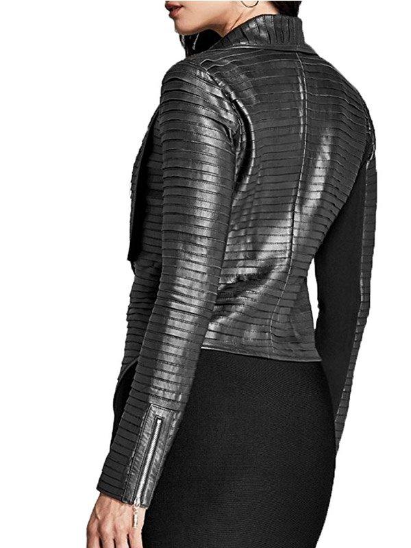 Riverdale madelaine petsch Black Leather Pleated Jacket
