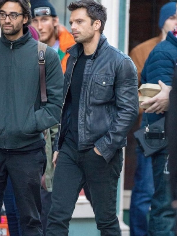 Sebastian Stan The Falcon And The Winter Soldier Black Leather Jacket