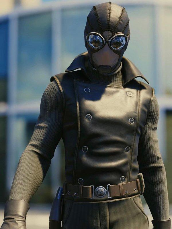 Spider Man Into the Spider-Verse Noir Black Leather Vest