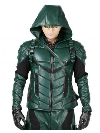 Stephen Amell Green Arrow season 5 Green Leather Jacket