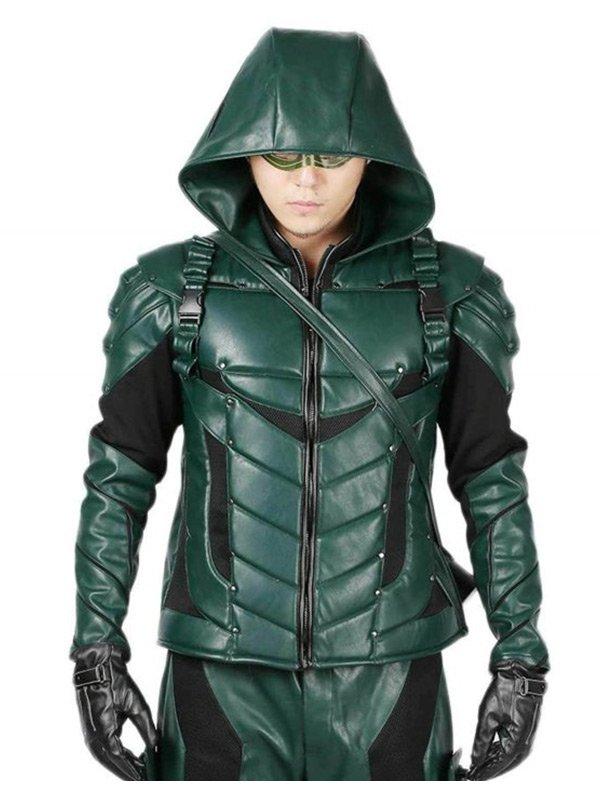 Stephen Amell Green Arrow season 5 Green Leather Jacket