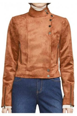 TV Series Arrow Dinah Drake S06 Brown Suede Leather Jacket
