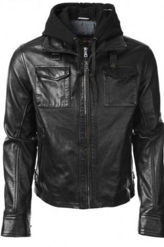 TV Series Arrow Stephen Amell Black Leather Hooded Jacket