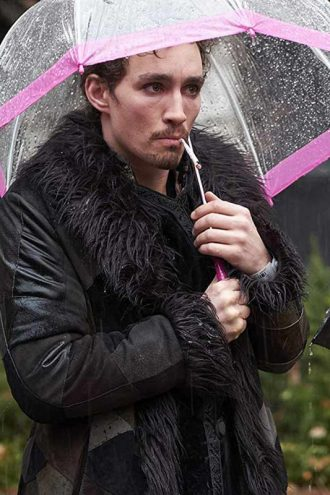 The Umbrella Academy Klaus Black Shearling Fur Coat