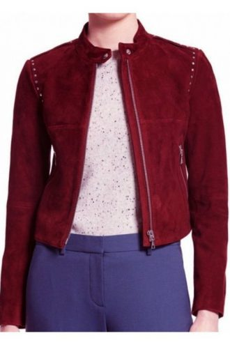 Thea Queen Arrow Studded Suede Leather Jacket