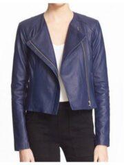 Tv Series Arrow Emily Bett Rickards Blue Leather Jacket