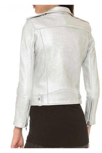 Tv-Series Arrow Willa Holland Silver Leather Biker Jacket