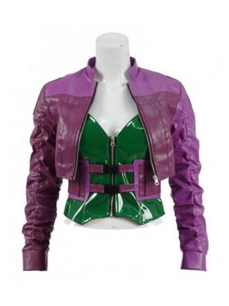 Video Game Injustice 2 Harley Quinn Purple Leather Jacket