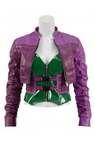 Video Game Injustice 2 Harley Quinn Purple Leather Jacket