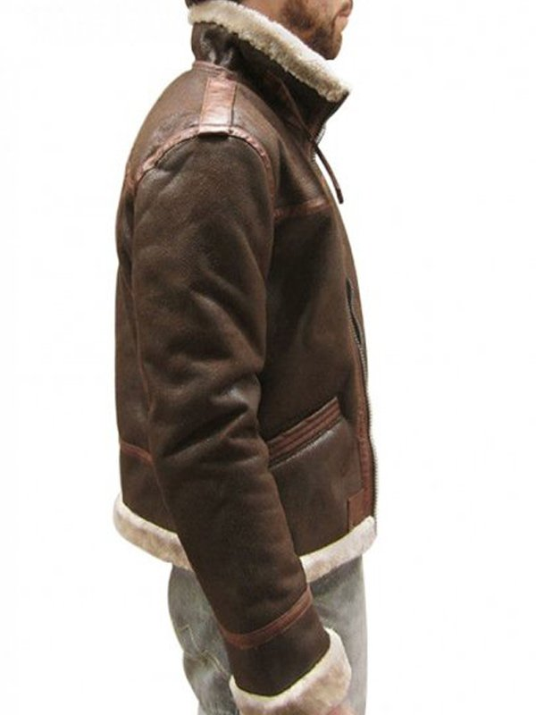 Video Game Resident Evil 4 Leon Kennedy Brown Fur Leather Jacket