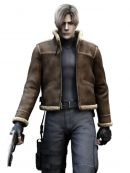 Video Game Resident Evil 4 Leon Kennedy Fur Leather Jacket
