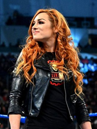 WWE Becky Lynch Black Leather Cropped Motorcycle Jacket