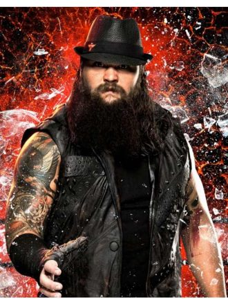 WWE Bray Wyatt Black Leather Hooded Vest
