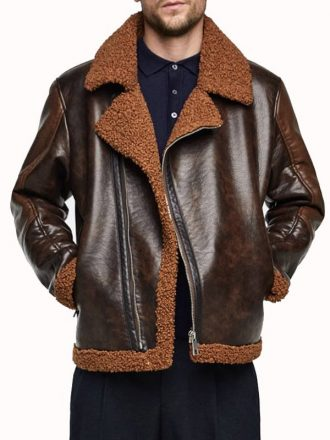 WWE Dean Ambrose Dark Brown Leather Shearling Jacket