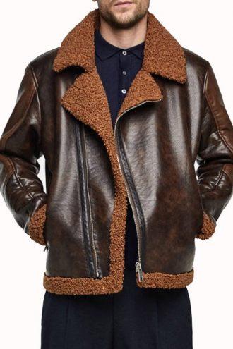 WWE Dean Ambrose Dark Brown Leather Shearling Jacket