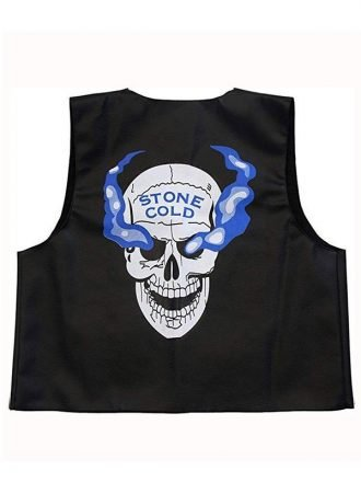 WWE Stone Cold Steve Austin Skull Black Leather Vest