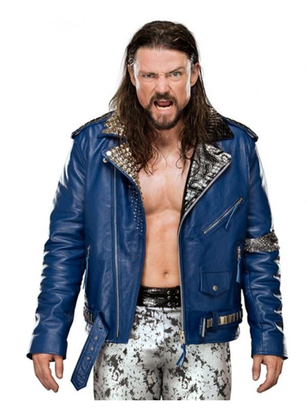 WWE Superstar Brian Kendrick Blue Studded Motorcycle Jacket