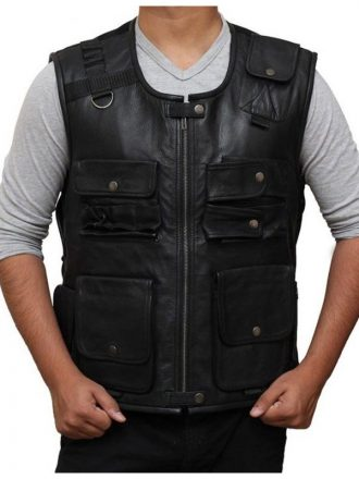 WWE Superstar Roman Reigns Black Leather Vest