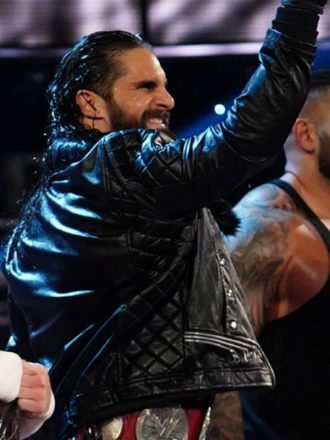 WWE Superstar Seth Rollins Fur Collar Black Leather Jacket