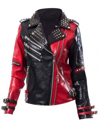 WWE Toni Storm Black and Red Biker Leather Jacket