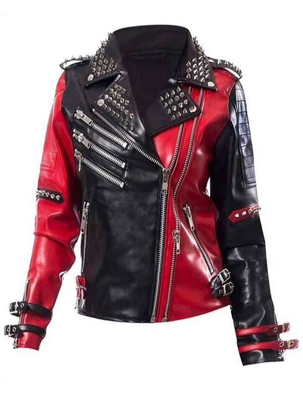 WWE Toni Storm Black and Red Biker Leather Jacket
