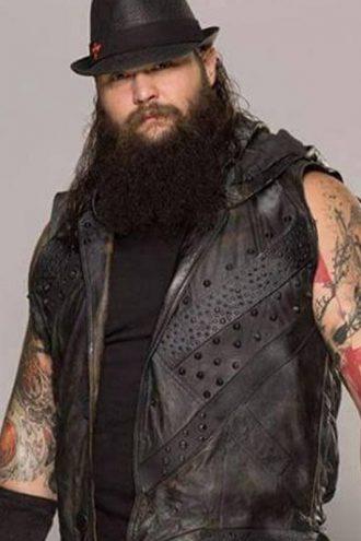 WWE Wrestler Bray Wyatt Black Leather Vest With Hood