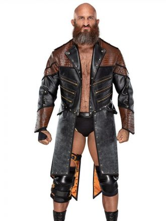 WWE Wrestler Tommaso Ciampa Black & Brown Trench Coat