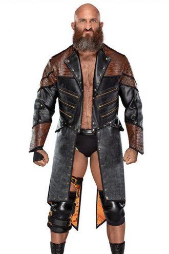 WWE Wrestler Tommaso Ciampa Black & Brown Trench Coat
