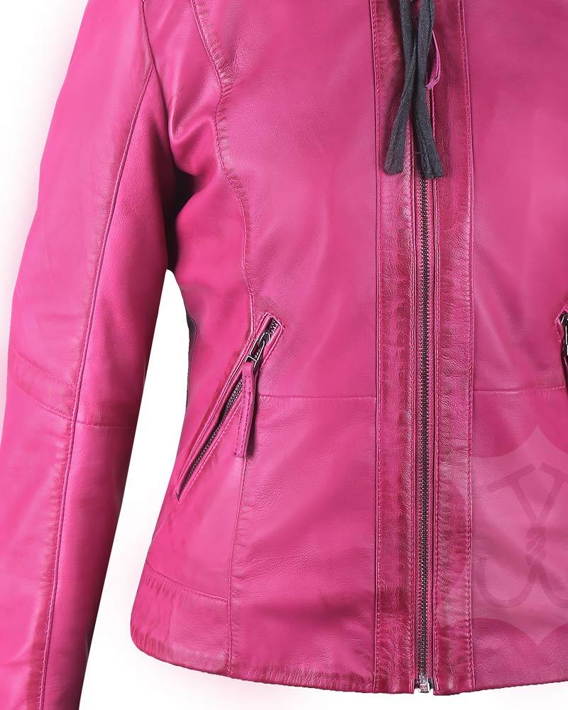 Women Pink Hooded Jacket