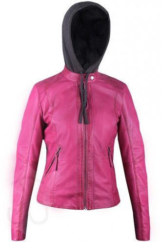 Women Quilted Real Leather Fix Hoodie Jacket