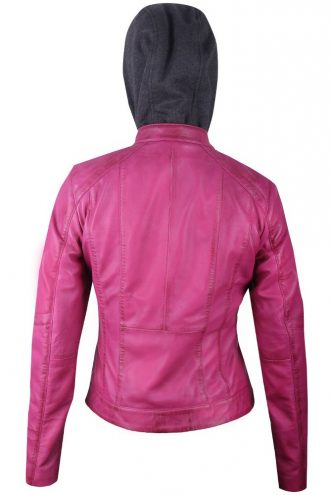 Women Quilted Real Leather Pink Hooded Jacket