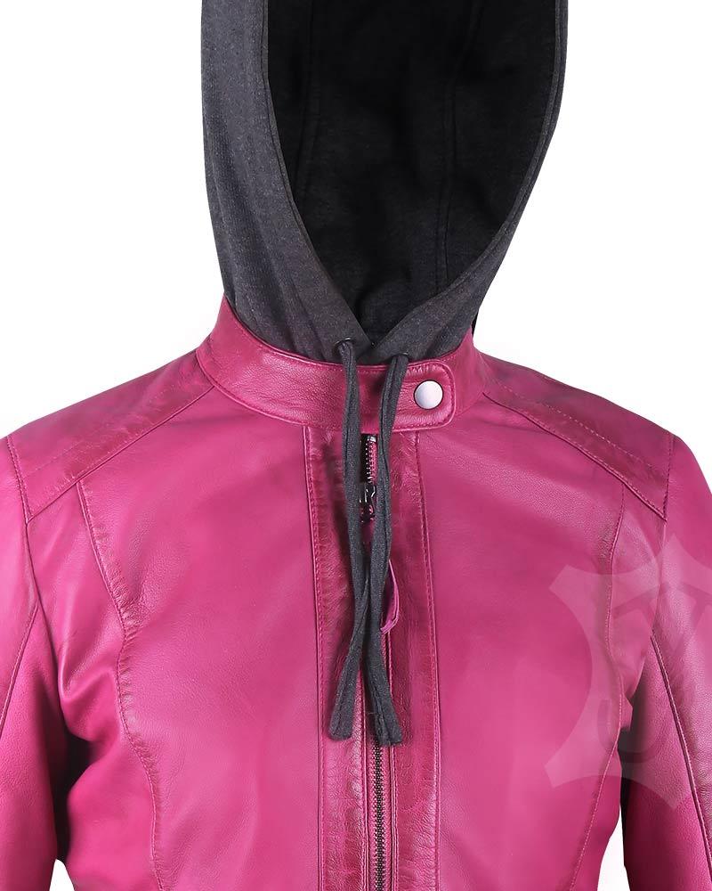 Women Real Leather Hoodie Jacket