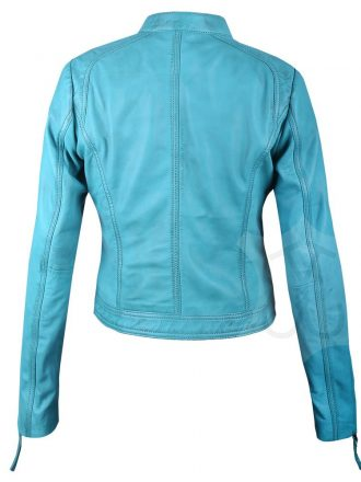 Women Slimfit Sky Blue Biker Leather Jacket